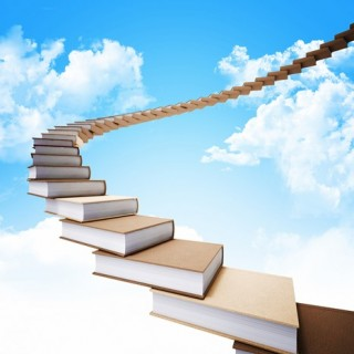 3d book stair and blue sky